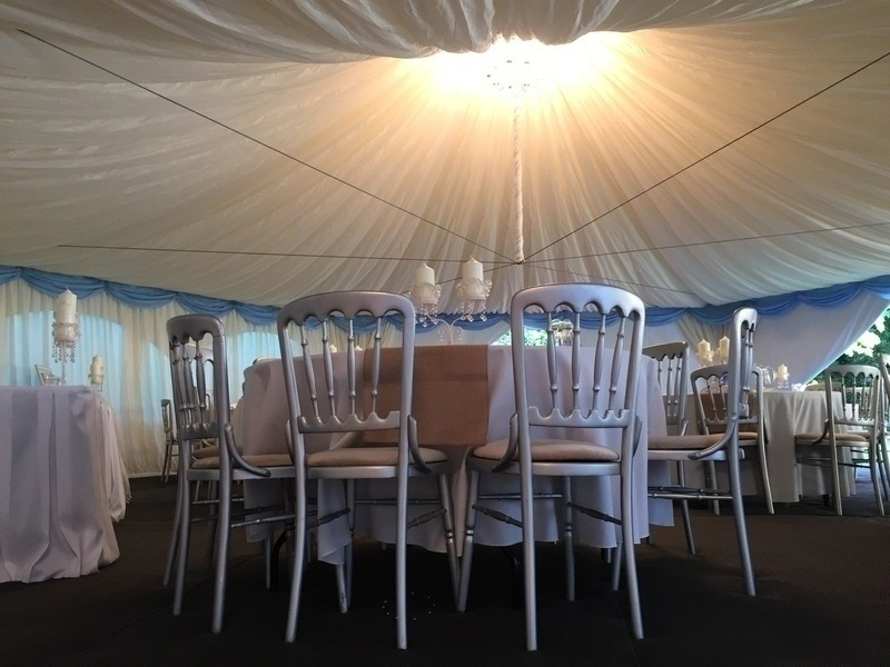Hexagon marquee with sky blue swag